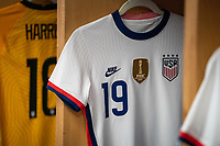 HARRISON, NJ - MARCH 08: The jersey of Crystal Dunn #19 sits in the locker room during a game between Spain and USWNT at Red Bull Arena on March 08, 2020 in Harrison, New Jersey.