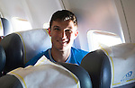 St Johnstone UEFA Cup Qualifyer, Armenia...30.06.15<br /> New signing John Sutton on the flight over to Armenia<br /> Picture by Graeme Hart.<br /> Copyright Perthshire Picture Agency<br /> Tel: 01738 623350  Mobile: 07990 594431