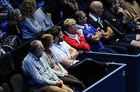 Boris Becker (red) watches as Novak Djokovic (SRB) takes on Kei Nishikore (JPN) during Day One of the Barclays ATP World Tour Finals 2015 played at The O2, London on November 15th 2015