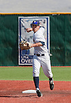 March 10, 2012:   Nevada Wolf Pack shortstop Kyle Hunt makes the play on a ground ball up the middle against the UC Santa Barbara Gauchos  during  their NCAA baseball game played at Peccole Park on Saturday afternoon in Reno, Nevada.