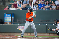 Ryne Birk (4) of the Buies Creek Astros at bat against the Winston-Salem Dash at BB&T Ballpark on April 15, 2017 in Winston-Salem, North Carolina.  The Astros defeated the Dash 13-6.  (Brian Westerholt/Four Seam Images)