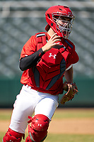 Catcher Jacob Cozart (38) backs up the play during the Baseball Factory All-Star Classic at Dr. Pepper Ballpark on October 4, 2020 in Frisco, Texas.  Jacob Cozart (38), a resident of High Point, North Carolina, attends Wesleyan Christian High School.  (Ken Murphy/Four Seam Images)