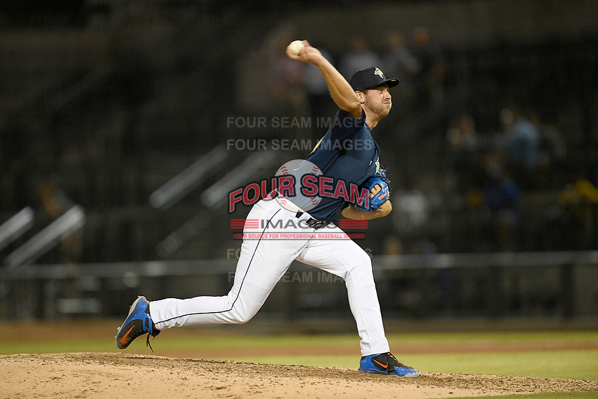 Pitcher Tylor Megill (35) of the Columbia Fireflies delivers a pitch in a game against the Rome Braves on Tuesday, June 4, 2019, at Segra Park in Columbia, South Carolina. Columbia won, 3-2. (Tom Priddy/Four Seam Images)