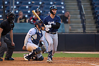 Lakeland Flying Tigers Kody Clemens (4) hits a single in front of catcher Austin Wells (28) during a game against the Tampa Tarpons on June 1, 2021 at George M. Steinbrenner Field in Tampa, Florida.  (Mike Janes/Four Seam Images)