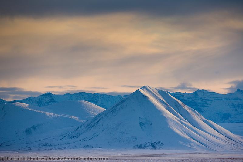 Winter landscape of the Philip Smith Mountains of the Brooks Range, Arctic Alaska