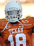 Texas Longhorns tight end D.J. Grant (18) in action during the game between the Brigham Young Cougars and the Texas Longhorns at the Darrell K Royal - Texas Memorial Stadium in Austin, Texas. Texas defeats Brigham Young 17 to 16...