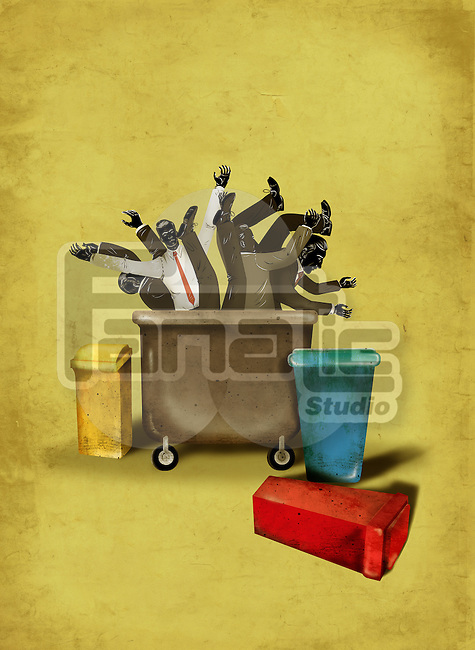 Illustrative image of business people in wheeled dustbin representing cost cutting
