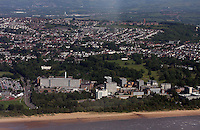 Aerial view of Swansea University