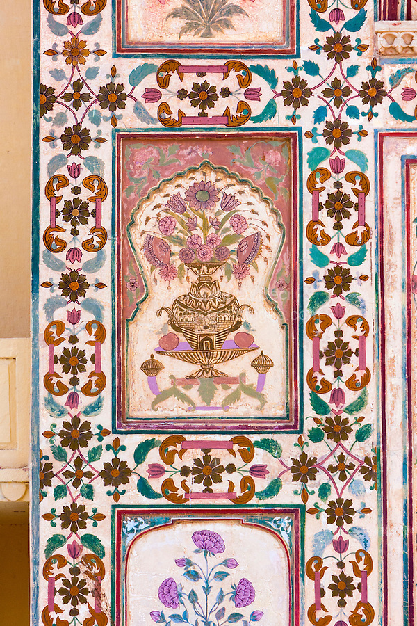 Jaipur, Rajasthan, India.  Floral Decoration around one of the Interior Entrances to the Maharaja's Private Quarters, Amber (or Amer) Palace, near Jaipur.