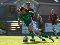 Cian Bargary of Cork City with Killian Cooper of Cobh Ramblers.<br /> <br /> Cobh Ramblers v Cork City, SSE Airtricity League Division 1, 28/5/21, St. Colman's Park, Cobh.<br /> <br /> Copyright Steve Alfred 2021.