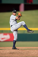 Peoria Javelinas relief pitcher Travis Radke (80), of the San Diego Padres organization, delivers a pitch during an Arizona Fall League game against the Mesa Solar Sox at Sloan Park on November 6, 2018 in Mesa, Arizona. Mesa defeated Peoria 7-5 . (Zachary Lucy/Four Seam Images)