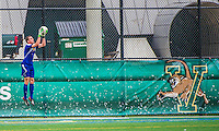 19 October 2013: University of Vermont Catamount Goalkeeper Ryan Bailey, a Junior from Perkasie, PA, in action against the University at Albany Great Danes at Virtue Field in Burlington, Vermont. The Catamounts defeated the visiting Danes 2-1. Mandatory Credit: Ed Wolfstein Photo *** RAW (NEF) Image File Available ***