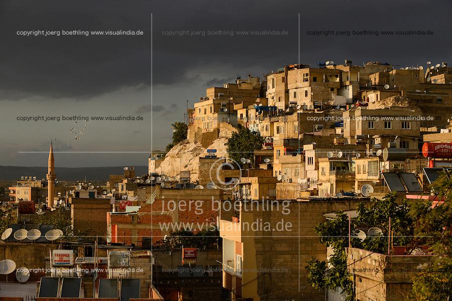TURKEY Birecik at Euphrates river, houses on a rock / TUERKEI Birecik am Fluss Euphrat, Haeuser auf einem Felsen