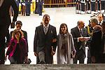 King Felipe VI of Spain, Queen Letizia and Vicepresident Carmen Calvo (L) during the Cervantes Literature Prize ceremony at the University of Alcala in Madrid on April 23, 2019. (ALTERPHOTOS/Alconada).