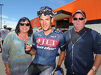 Alex Frame with his parents Carmen (left) and Gary after winning stage five of the NZ Cycle Classic UCI Oceania Tour in Masterton, New Zealand on Tuesday, 26 January 2017. Photo: Dave Lintott / lintottphoto.co.nz