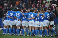 saluto della nazionale italiana dopo la sconfitta<br /> Italia vs Galles<br /> RBS 6 Nations Rugby Championship 2011<br /> Stadio Flaminio;<br /> Roma, 26/02/2011<br /> Photo Antonietta Baldassarre Insidefoto