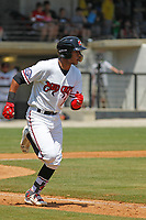 Carolina Mudcats infielder Jake Gatewood (7) at bat during a game against the Down East Wood Ducks on April 27, 2017 at Five County Stadium in Zebulon, North Carolina. Carolina defeated Down East 9-7. (Robert Gurganus/Four Seam Images)