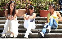 Da sinistra, la tennista serba Ana Ivanovic e le italiane Flavia Pennetta e Francesca Schiavone siedono sulla scalinata di Piazza di Spagna, durante il sorteggio dei tabelloni degli Internazionali di Tennis, a Roma, 12 maggio 2012..From left, Serbian tennis player Ana Ivanovic and Italian Flavia Pennetta and Francesca Schiavone sit on the Spanish Steps during the draw of the Italian Open tennis tournament's boards, in Rome, 12 may 2012..UPDATE IMAGES PRESS/Riccardo De Luca