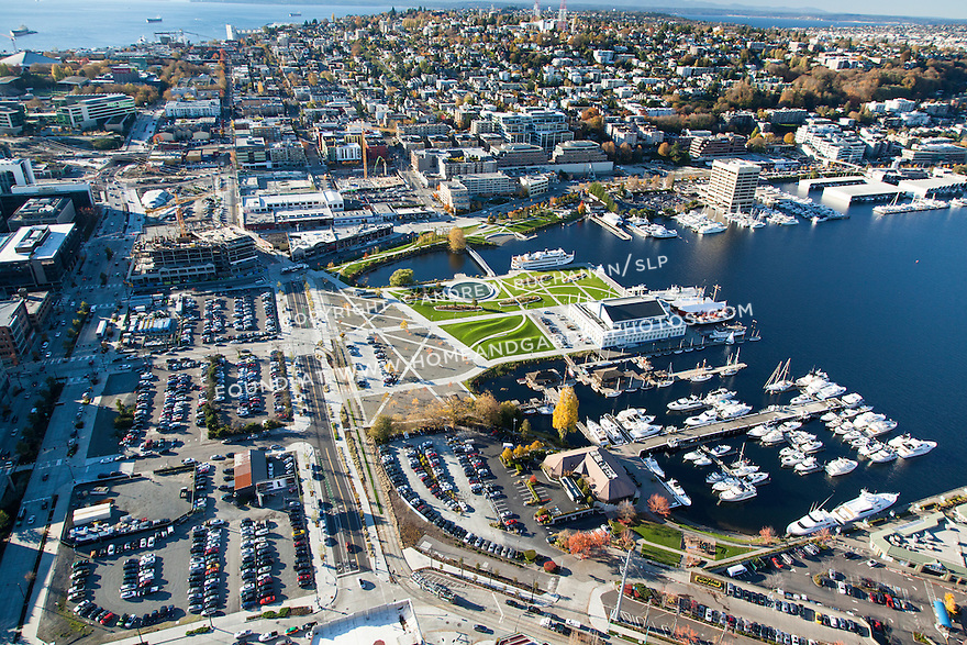 Aerial view of Seattle's Lake Union Park, marinas, and Museum of History and Industry