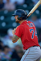 Boston Red Sox first baseman Sam Travis (74) on deck during a Spring Training game against the Pittsburgh Pirates on March 9, 2016 at McKechnie Field in Bradenton, Florida.  Boston defeated Pittsburgh 6-2.  (Mike Janes/Four Seam Images)