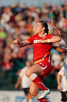 Brittany Bock (21) of the Western New York Flash lines up a header during first half action. The Western New York Flash defeated the magicJack 3-0 in Women's Professional Soccer (WPS) at Sahlen's Stadium in Rochester, NY May 22, 2011.