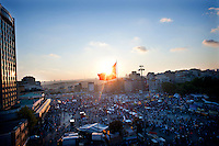 Copyright : Magali Corouge /Documentography<br />Istanbul, Turkey, the 9th of June 2013.<br /><br />Vue of Taksim Square from a rooftop of a building. Then of thousand of people came today to listen to the political meeting and the concert organized on sunday 9th of June.