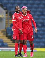 17th October 2020; Ewood Park, Blackburn, Lancashire, England; English Football League Championship Football, Blackburn Rovers versus Nottingham Forest ; Samba Sow of Nottingham Forest celebrates with team mate Lyle Taylor of Nottingham Forest at the final whistle