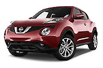 Stock pictures of low aggressive front three quarter view of a 2015 Nissan JUKE TEKNA 5 Door SUV 2WD Low Aggressive