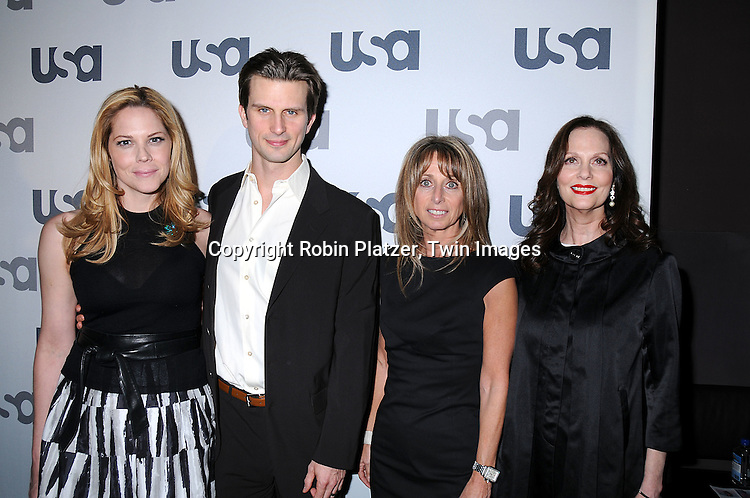 """The Cast of """"In Plain Sight"""" Mary McCormack, Frederick Weller and Lesley Ann Warren with Bonnie Hammer.posing for photographers at The USA Network Upfront.on March 26, 2008 at The Modern. ..Robin Platzer, Twin Images"""