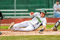 25 July 2017: Vermont Lake Monsters third baseman Will Toffey, a 4th round draft pick for the Oakland Athletics, slides home safely to score Vermont's 5th run in the first inning against the Tri-City ValleyCats at Centennial Field in Burlington, Vermont. The Lake Monsters defeated the ValleyCats 11-3 in NY Penn League action. Mandatory Credit: Ed Wolfstein Photo *** RAW (NEF) Image File Available ***