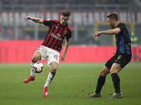 Calcio, Serie A: AC Milan - Inter Milan, Giuseppe Meazza (San Siro) stadium, Milan on 17 March 2019.  <br /> Milan's Krzysztof Piatek (l) in action with Inter's Stefan De Vrij (r) during the Italian Serie A football match between Milan and Inter Milan at Giuseppe Meazza stadium, on 17 March 2019. <br /> UPDATE IMAGES PRESS/Isabella Bonotto
