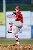 Johnson City Cardinals starting pitcher Bryan Dobzanski (50) in action against the Bristol Pirates at Boyce Cox Field on July 7, 2015 in Bristol, Virginia.  The Cardinals defeated the Pirates 3-1 in game two of a double-header. (Brian Westerholt/Four Seam Images)