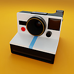 Vintage instant camera, evenly lit computer generated image on a fresh yellow studio background. CGI/3D model based on the popular instant camera first introduced in 1977.
