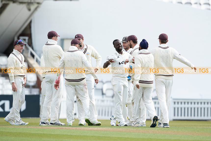Kemar Roach celebrates his fifth wicket during Surrey CCC vs Hampshire CCC, LV Insurance County Championship Group 2 Cricket at the Kia Oval on 1st May 2021