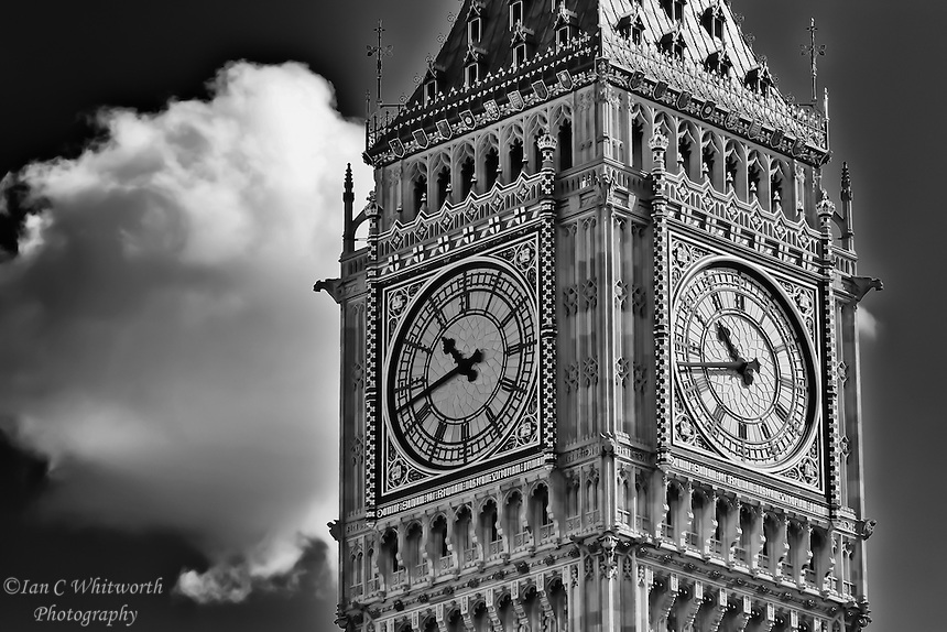 A view of the clock of Big Ben in London in B&W.