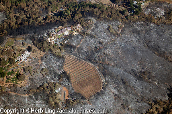 Winery in the mountains west of St. Helena destroyed by the 2020 Glass wildfire, Napa County, California