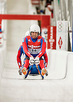 4 December 2015: Lukas Broz and Antonin Broz, sliding for the Czech Republic, cross the finish line after their second run, finishing 16th for the day with a combined time of 1:29.523 in the Doubles Competition of the Viessmann Luge World Cup at the Olympic Sports Track in Lake Placid, New York, USA. Mandatory Credit: Ed Wolfstein Photo *** RAW (NEF) Image File Available ***