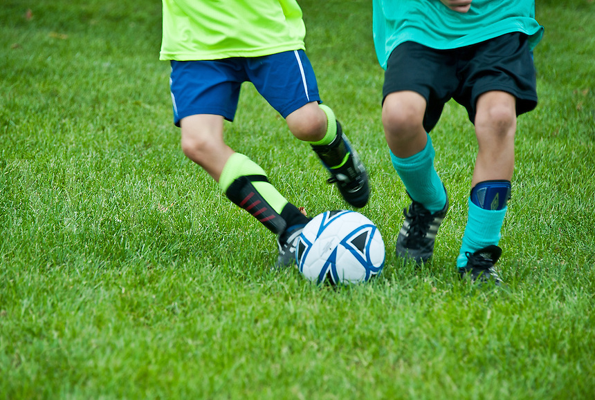 Boys youth soccer game.