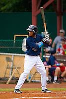 Jorge Polanco #5 of the Elizabethton Twins at bat against the Bluefield Blue Jays at Joe O'Brien Field on July 14, 2012 in Elizabethton, Tennessee.  The Twins defeated the Blue Jays 4-0.  (Brian Westerholt/Four Seam Images)