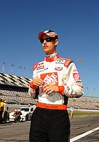 Feb 08, 2009; Daytona Beach, FL, USA; NASCAR Sprint Cup Series driver Joey Logano during qualifying for the Daytona 500 at Daytona International Speedway. Mandatory Credit: Mark J. Rebilas-