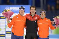 SCHAATSEN: HEERENVEEN: 15-12-2018, ISU World Cup, Podium 500m Men Division B, Ronald Mulder (NED), Alex Boisvert-Lacroix (CAN), Jan Smeekens (NED), ©foto Martin de Jong