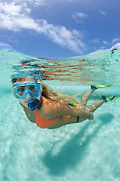 Snorkeler in crystal clear Caribbean water<br /> Virgin Islands