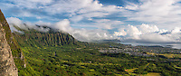 A panorama of Windward O'ahu, including the town of Kaneohe and Kaneohe Bay.