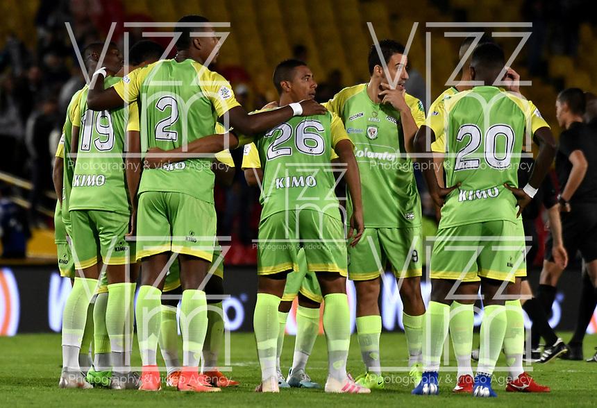 BOGOTÁ-COLOMBIA, 03–08-2019: Jugadores de Jaguares de Córdoba F.C., durante partido entre Millonarios y Jaguares de Córdoba F.C. de la fecha 4 por la Liga Águila II 2019  jugado en el estadio Nemesio Camacho El Campín de la ciudad de Bogotá. / Players of Jaguares de Cordoba F. C. during a match between Millonarios and Jaguares de Cordoba F. C. of the 4th date for the Aguila Leguaje II 2019 played at the Nemesio Camacho El Campin Stadium in Bogota city, Photo: VizzorImage / Luis Ramírez / Staff.