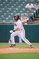 Bowie Baysox Brett Cumberland (28) hits a double during an Eastern League game against the Akron RubberDucks on May 30, 2019 at Prince George's Stadium in Bowie, Maryland.  Akron defeated Bowie 9-5.  (Mike Janes/Four Seam Images)