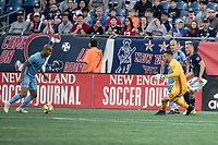 FOXBOROUGH, MA - SEPTEMBER 29: Matt Turner #30 of New England Revolution caught out of his goal by Heber #9 of New York City FC during a game between New York City FC and New England Revolution at Gillettes Stadium on September 29, 2019 in Foxborough, Massachusetts.