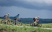 """eventual stage winner Mauro Schmid (SUI/Qhubeka ASSOS) leading the breakaway over gravel sector #1<br /> <br /> 104th Giro d'Italia 2021 (2.UWT)<br /> Stage 11 from Perugia to Montalcino (162km)<br /> """"the Strade Bianche stage""""<br /> <br /> ©kramon"""