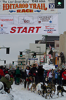 2010 Iditarod Ceremonial Start in Anchorage Alaska musher # 20 HANS GATT with Iditarider KATHY WRIGHT