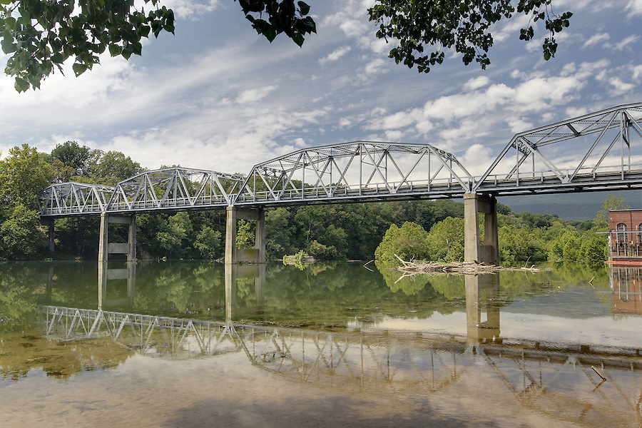 An old metal bridge crosses the South Fork Shenandoah River in Page County, Virginia. Photo/Andrew Shurtleff