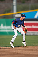 Missoula Osprey shortstop Blaze Alexander (31) during a Pioneer League game against the Grand Junction Rockies at Ogren Park Allegiance Field on August 21, 2018 in Missoula, Montana. The Missoula Osprey defeated the Grand Junction Rockies by a score of 2-1. (Zachary Lucy/Four Seam Images)